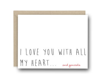 Funny I Love You Card - I Love you With all My Heat - Naughty Card, Card for Boyfriend, Anniversary Card, Funny Valentine's Card