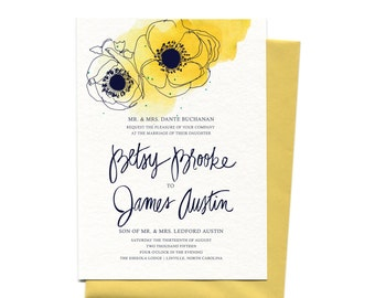 Wedding Invitation Suite in Curry Watercolor Poppies  | Custom Yellow Watercolor Flowers Wedding Invitation + Save The Date with Calligraphy