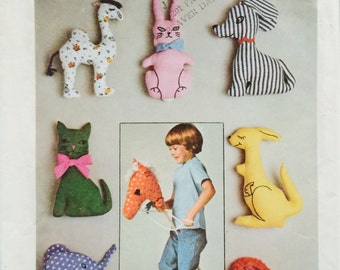 Simplicity 7744, One Size, Set of Stuffed Toys Pattern, UNCUT,Vintage 1976, Childrens' Stuffed Toys, Hobby Horse, Colorful, Elephant