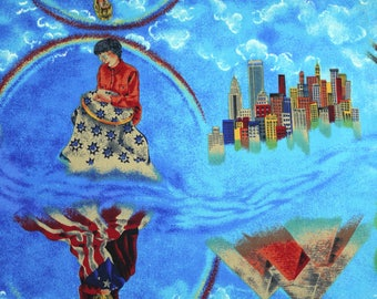 1 YARD, COTTON PRINT, Red Orange on Blue Sky, Quilt Fabric, Balson Hercules Group, Suzan Ellis, Ancient to Modern, History, Medium Wt, B36