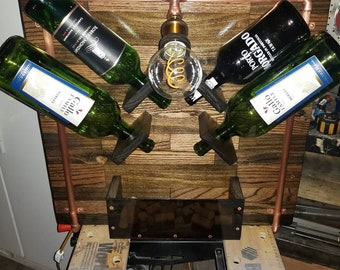 Wall mounted wine rack and lamp