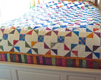 Handmade Beach Quilt with Bright Colors-Handmade Blue, Pink, Green Pinwheel Quilt Gift-Multicolor-- Colorful Wedding Gift
