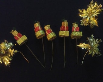 Christmas Floral Picks Glitter Packages Soft Plastic Metallic Gold Poinsettias Mixed Lot of 8 Floral Arrangements Crafts Tie Ons Wreaths
