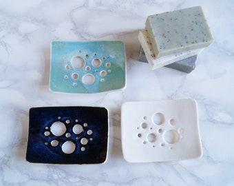 Made to order. BUBBLE holes soap dish, white porcelain soap dish, ceramic soap dish, aqua, white or midnight glaze