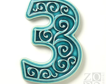 ceramic house number 3 , turquoise