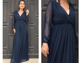 Blue Chiffon Maxi Dress