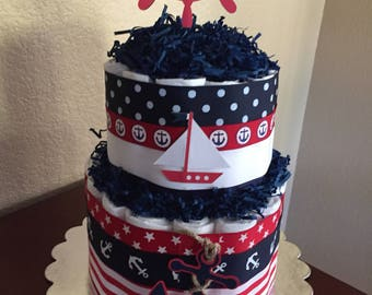 Baby Boy Nautical Theme Diaper Cake/Boy Shower Gift/Mother To Be Gift/ Nautical Centerpiece/It's A BoyRed White Navy Diaper Cake