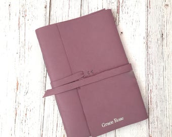 A5 Personalised Leather Notebook,  Personalised Travel Journal, 3rd Anniversary Gift, Writers Gift,  Purple leather notebook, Gift for Her,