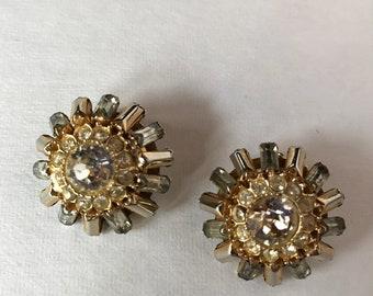 Vintage Goldtone Rhinestone Hattie Carnegie Earrings
