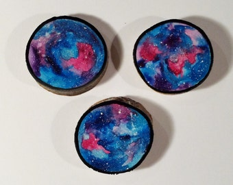 Galaxy Trio 004 - Watercolour Paintings on a Woodslices - Set of Three