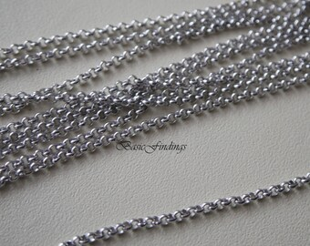 10 Meters, 1.6 mm Rolo Chain, Original Rhodium Plated Brass Chain, Basic Fashion Jewelry Chain, 1.6 mm BL, Quality Brass Chain