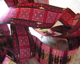 "Scroll & Cross Medieval S C A Jacquard Ribbon Sewing Trim 5 yards x 1"""