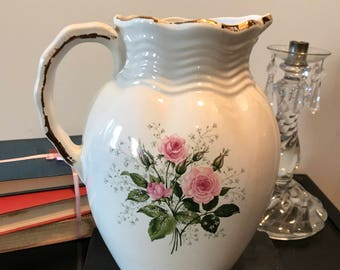 Large Vintage Ceramic Water Pitcher Handpainted Roses Flowers Country Cottage  Collectible Shabby Chic Wedding Decor