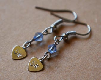 "Hand Stamped ""5k"" Earrings with Blue Beads"