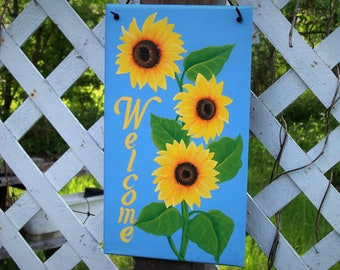 Yellow Sunflower Welcome Sign / Custom Hand Painted Sign / Personalized Door Decoration / Sunflower Wall Decor