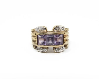 Gold Washed Sterling Amethyst Ring Size 7 925