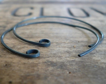 Shoals Sterling Silver Earwires - Handmade. Handforged. Heavily Oxidized. Made to Order