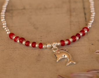 Silver Dolphin Bracelet, Red Glass Beads, Sterling Silver Beads, Sterling Silver Dolphin Charm, Adjustable