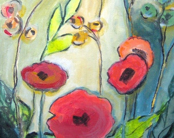 Poppy painting etsy original poppy painting title poppies in bloom 3 red poppy flowers abstract mightylinksfo Image collections