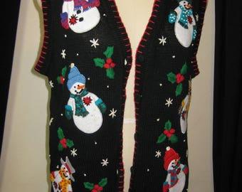 Ugly Christmas (med) vest, black, sweater vest, Victoria Jones,  snowmen, embroidered, vintage, button front, ugly snowmen,   EN59
