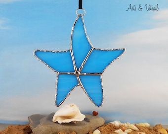 "Blue Starfish Stained Glass Suncatcher  4.75"" x 4.25"" (12 x 10.5 cm), Glass Starfish, Sea Decoration, Maritime Decoration"
