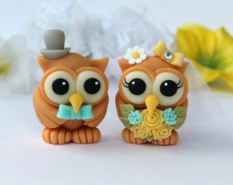 Owl cake topper for wedding, bride and groom love birds cake topper, wedding cake topper figurine, spring cake topper, yellow wedding