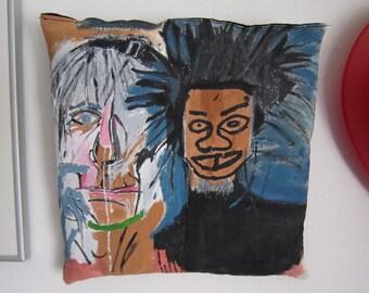 Andy Warhol Jean Michel Basquiat portrait urban pop graffiti for living room decorative pillow black artist Brooklyn great for birthday