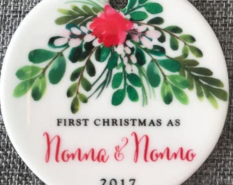 Nonna & Nonno Ornament Our First Christmas as Nonna and Nonno Watercolor Ornament Italian Grandparents Christmas Ornament Grandparents Gift