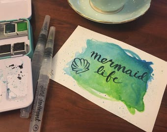 Custom Name or Phrase on a Watercolor Background- Original