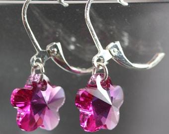 Fun Fashion Pink Flower Swarovski Crystal Drop Leverback Earrings, Sparkling Pink Crystal Flower Drop Leverback Earrings