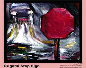 Origami Stop Sign Painting & Cards