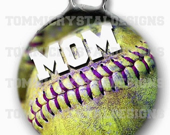 "1.5"" Softball MOM Soldered Art Collage Charm (also comes with no wording)"