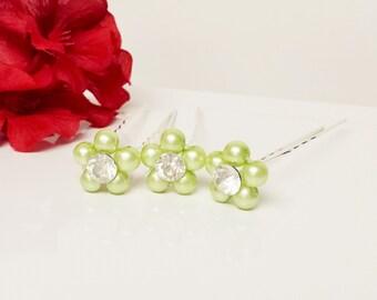 Baby Green Pearl Hair Pins - Set of 3 Bridesmaid Hair Pins - Rhinestone Flower Girl Hair Accessories