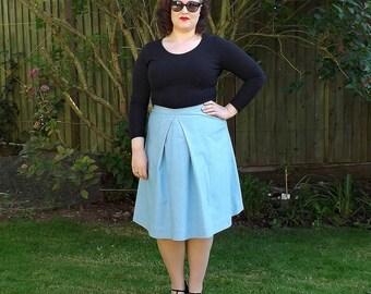 Cotton Skirt, 50s Style Skirt, Plain Skirt, 50s Skirt, Knee Kength Skirt, Womens Skirts, Skirt, Vintage, 50s, Blue, Cotton, Ladies Skirt,