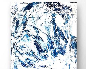 "Abstract Mixed Media Art on Wood Panel 70X50 ""White Ocean II"""