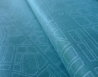 Barcelona City Map Teal - Zen Chic for Moda Brigitte Heitland - Half Yard - Modern Quilting Sewing Crafting Cotton Fabric