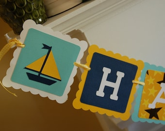 Sails, Whales and Anchors, Nautical Happy Birthday, Nautical Birthday Banner, Sailboat Birthday,