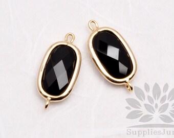 F126-G-BL// Gold Plated Black Baguette Glass Pendant Connector, 2 pcs
