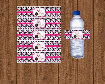 Bowling Birthday Water Bottle Label, Girls Bowling Water Bottle Wrapper, Instant Download