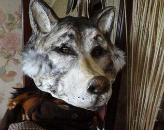 Halloween mask Wolf mask mask Paper mache mask Wolf head Animal mask Masquerade mask & Goat mask Halloween mask Goat costume paper mache goat mask