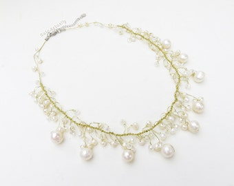 White freshwater pearl necklace with crystal on gold silk thread, dangle necklace
