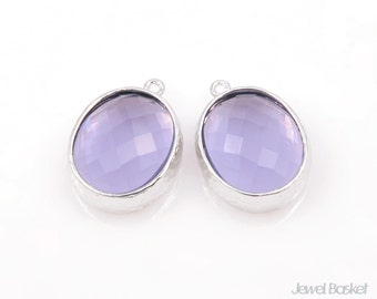 Purple Color Glass and Silver Framed Oval Pendent - 2pcs Tanzanite Glass Oval Pendant, Jewelry Pendant / 12mm x 16mm / SPUS009-P