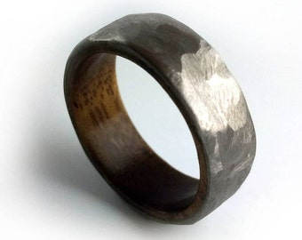 Titanium Walnut Ring, Walnut Wood Ring, Unique Wood Ring, Rustic Ring, Engagement Band, Handmade Wood Ring, Solid Timber, Domestic Wood
