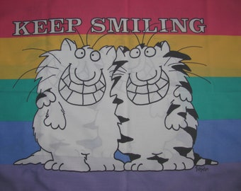 Vintage Boynton for Martex Twin/Standard Pillow Case -  Keep Smiling - Cats, Rainbow Stripes