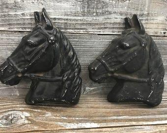 2 Metal Cast Black Horse Plaques