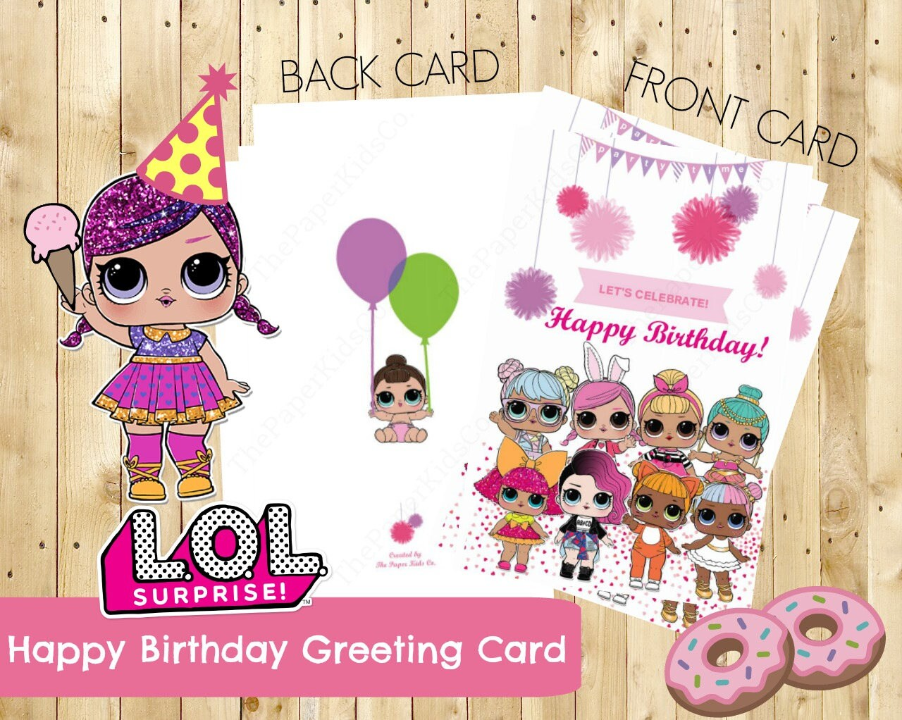 L.O.L Surprise Dolls Custom Made Birthday Card For Her
