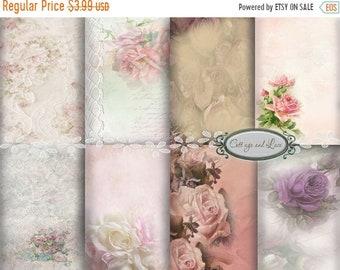 Sale Digital Backgrounds Digital Floral Backgrounds Vintage Backgrounds  Scrapbooking Cottage Chic Pack, 8.50 x 11  No 1121 B
