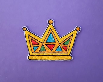Crown brooch. Crown embroidered brooch. Embroidered crown.