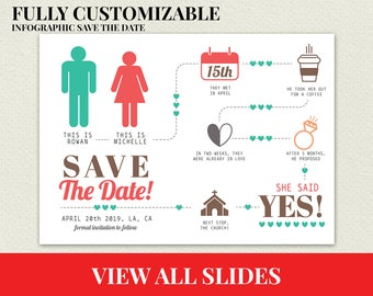 Personalized Funny Infographic Save the Date Card, Custom Save the date Infographic, cheap save the dates,unique save the dates,Info-graphic