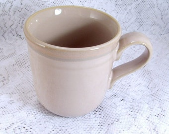 Vintage 1970's Noritake japan stoneware beige with stripes coffee mug